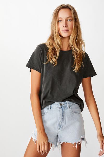 The One Crew Tee, WASHED VINTAGE BLACK