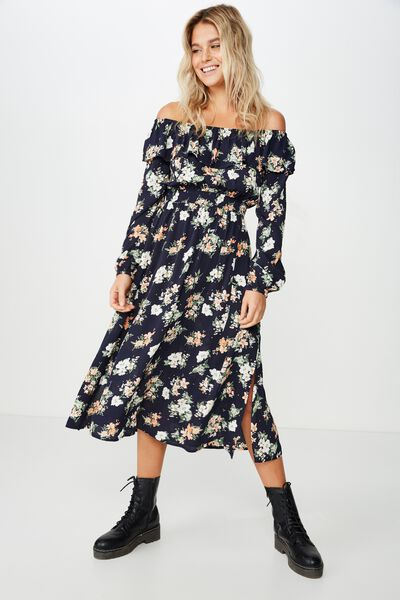 Woven Wella Off The Shoulder Midi Dress, HANNAH FLORAL TOTAL ECLIPSE