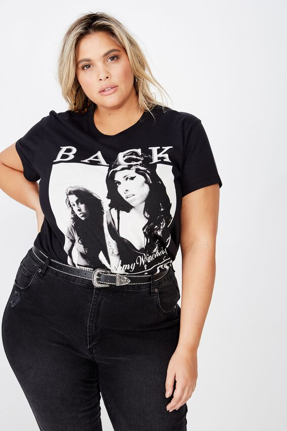 Curve Graphic License Tee, LCN PER AMY WINEHOUSE BACK TO BLACK/BLACK