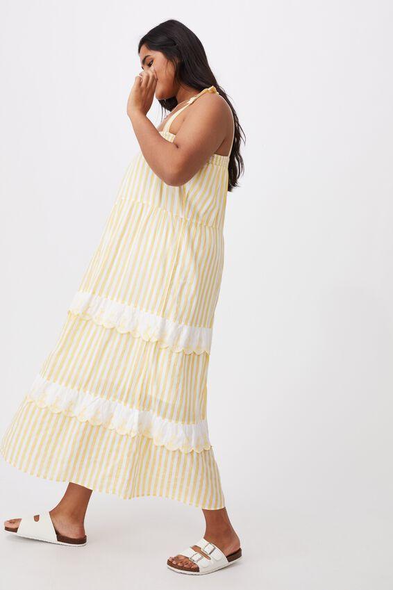 Curve Woven Clarissa Tie Strap Maxi Dress, YELLOW WHITE STRIPE