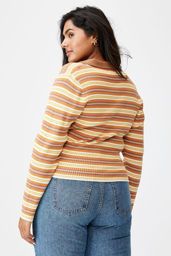 Curve Long Sleeve Rib Knit Polo Top, FRANKIE STRIPE LEAF BROWN