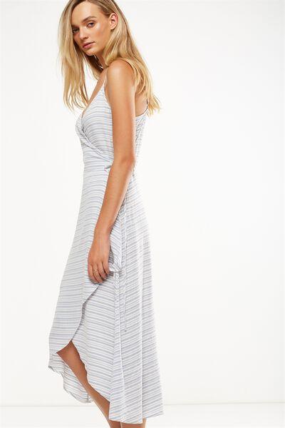 Woven Lucia Strappy Wrap Midi Dress, TOTAL ECLISPE/WHITE CYPRUS STRIPE