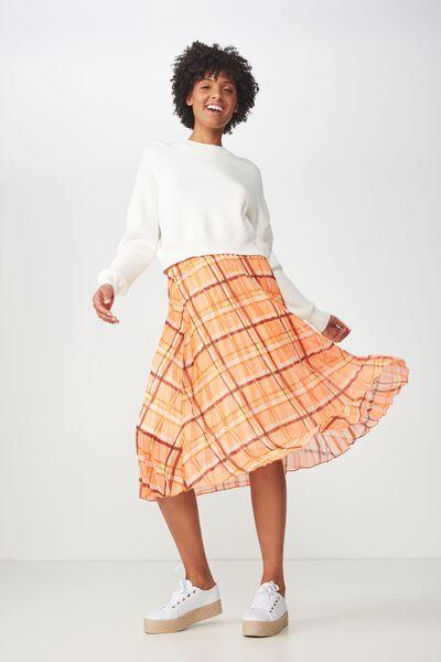 Woven Daria Pleated Midi Skirt, SIENNA SOFT CHECK ORANGE