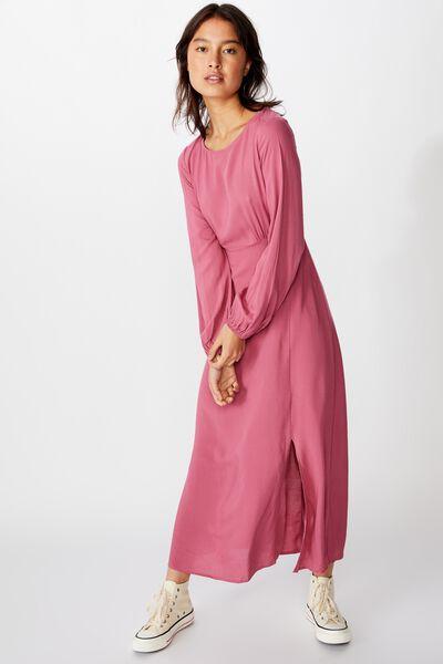 Woven Rach Split Maxi Dress, ROSE WINE