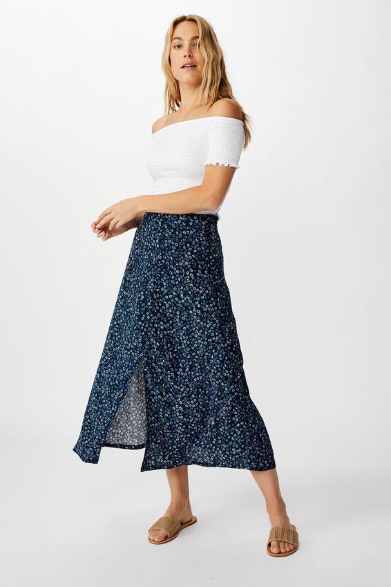 Summer Button Midi Skirt, FRANKIE DAISY TOTAL ECLIPSE