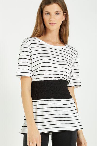 Kristy Shirred Top, JULIE STRIPE WHITE/BLACK/BLACK