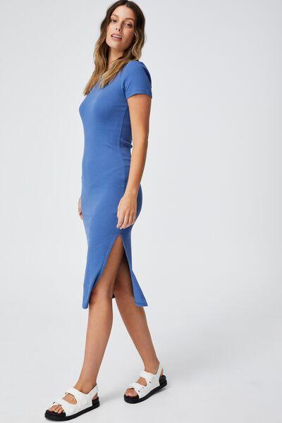 Essential Split Short Sleeve Midi Dress, COASTAL BLUE