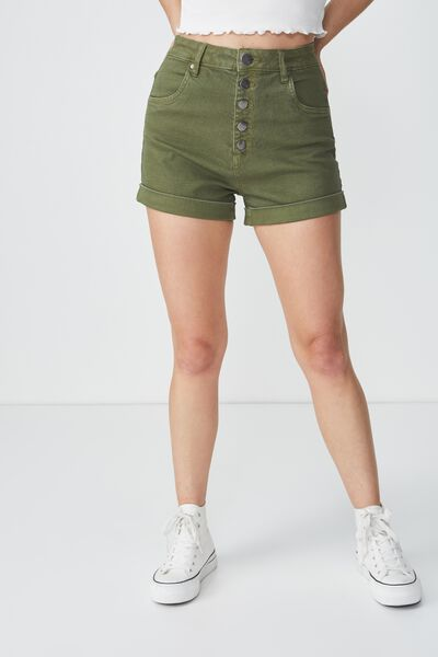 High Rise Classic Stretch Denim Short, SOFT KHAKI EXPOSED BUTTON