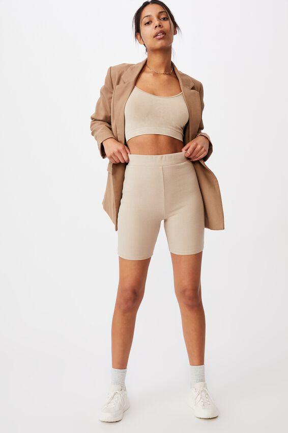 The Beverly Rib Bike Shorts, TAUPE