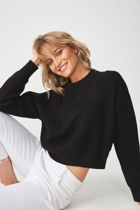 Chloe Cropped Luxe Pullover, BLACK