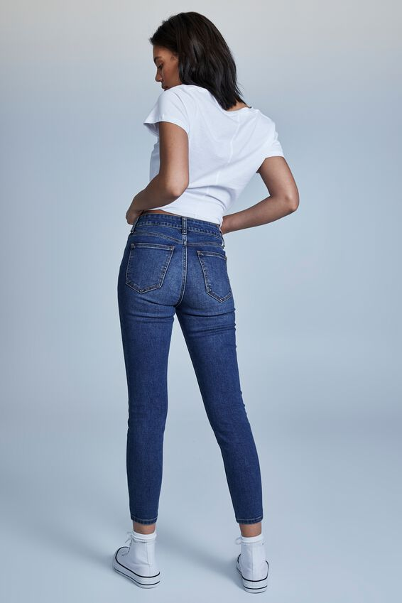 Mid Rise Cropped Skinny Jean, TRINITY BLUE