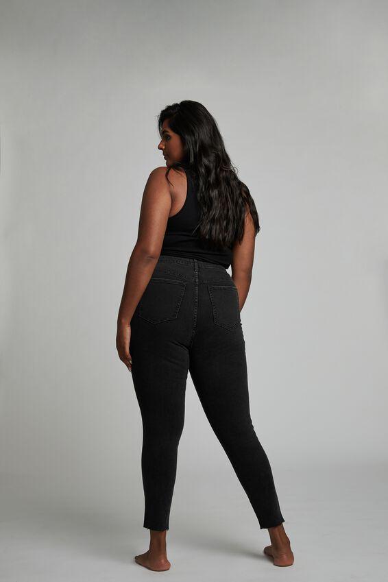 Curve Adriana High Crop Skinny Jean, MIDNIGHT BLACK RIPS