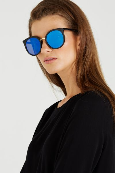 Dublin Round Sunglasses, BLACK/BLUE REVO