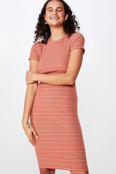 Essential Short Sleeve Bodycon Midi Dress, GRACIE STRIPE BRUSCHETTA RIB