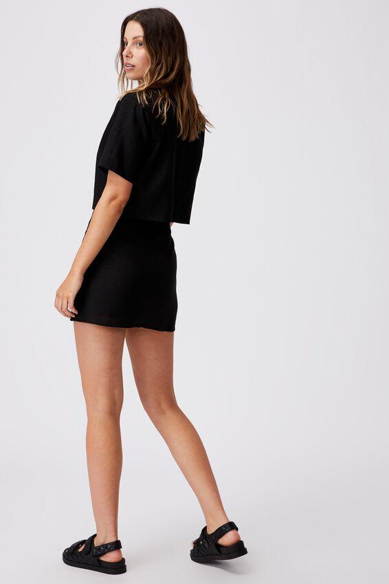 Ultimate Linen Short Sleeve Crop Blazer, BLACK