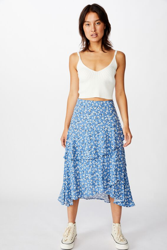 Eve Frill Midi Skirt, CHLOE DAISY PARISIAN BLUE