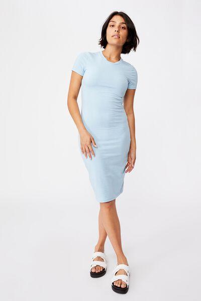 Essential Short Sleeve Midi Dress, DAISY BLUE MARLE