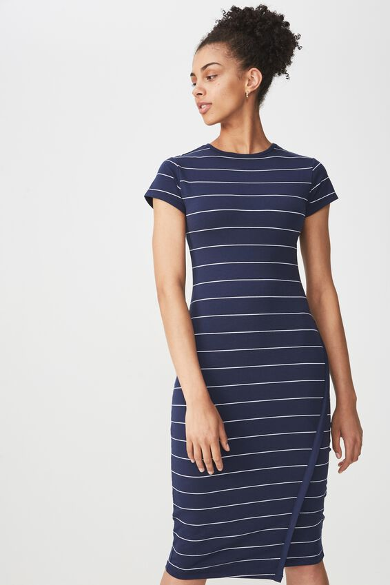 Anthea Short Sleeve Midi Dress, SPACE NAVY/WHITE ABBY STRIPE