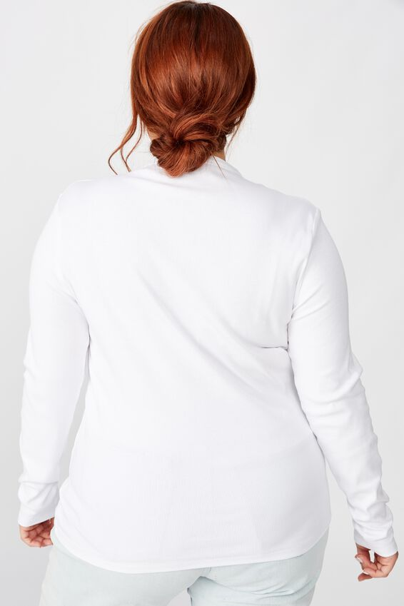 Curve The Turn Back Long Sleeve Top, WHITE