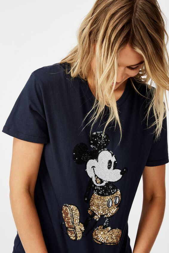 Classic Cny T Shirt, CNY LCN DIS MICKEY POSE SEQUIN/MOONLIGHT