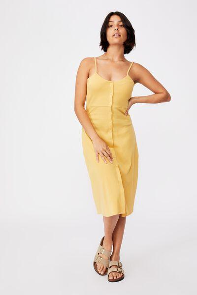 Jillian Button Through Midi Dress, GOLDEN HOUR YELLOW