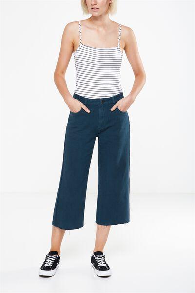 Mid Rise Wide Leg Crop Jean, VELVETY GREEN