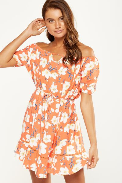 Woven Jenny Off The Shoulder Mini Dress, LANA FLORAL EMBERGLOW