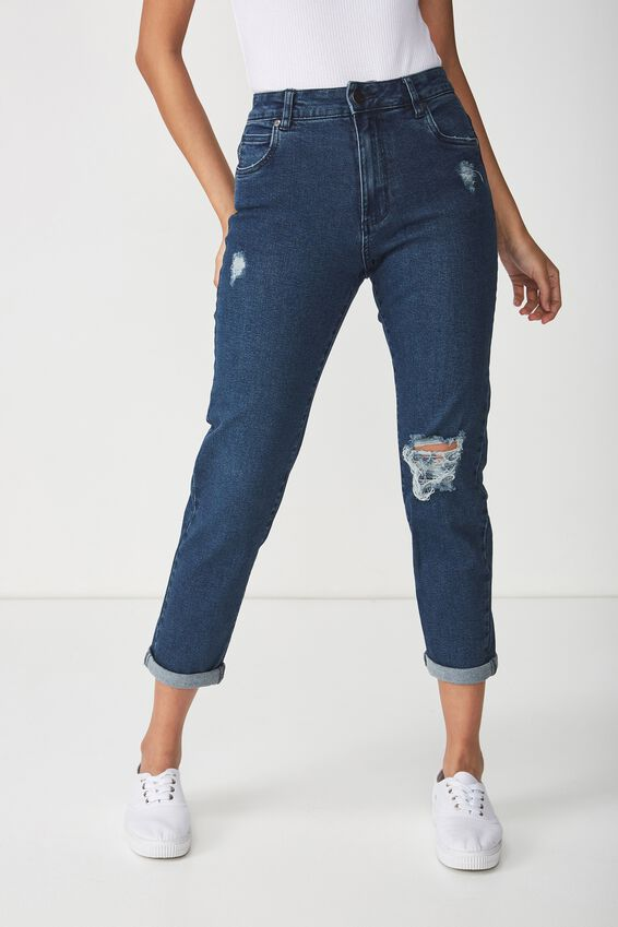 High Rise 90S Stretch Jean, WINTER BLUE RIPS