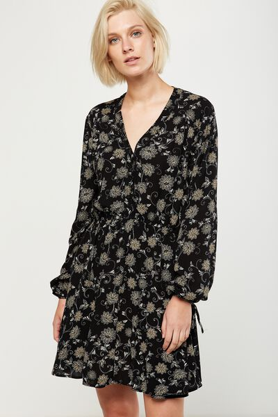 Woven Shania Long Sleeve Dress, JULES BLACK