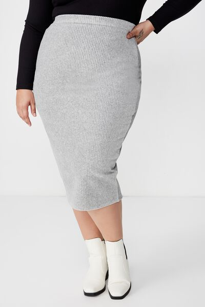 Curve Textured Tube Cord Skirt, GREY