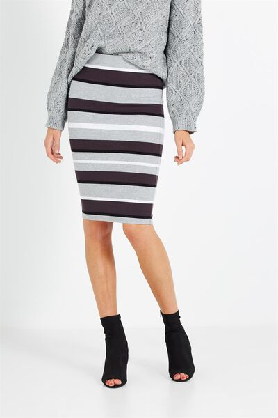 Kn Ribbed Midi Skirt, BETSY STRIPE GREY