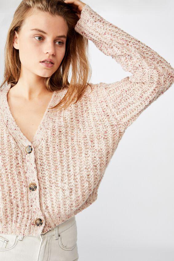 Multi Yarn Cropped Cardi, NEUTRAL MULTI