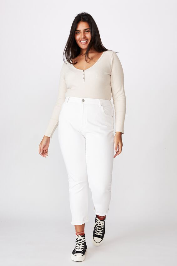 Curve Lincoln Henley Long Sleeve Top, TAPIOCA
