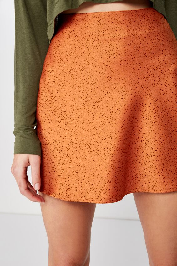 Woven Betty Bias Mini Skirt, CAMILLE SPOT RUST TAN