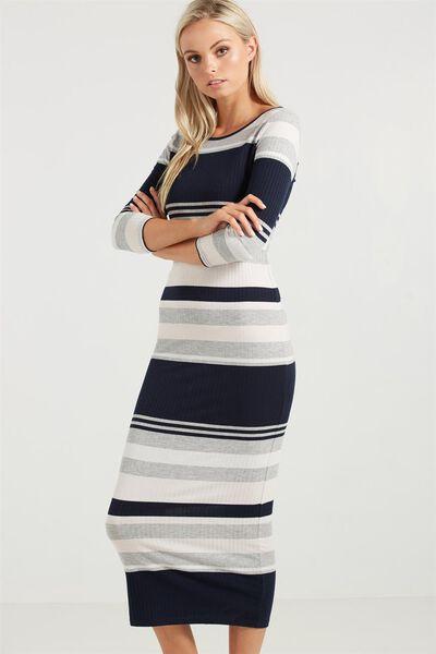 Trixie Long Sleeve 10 Maxi Dress, ANDREA STRIPE RIB