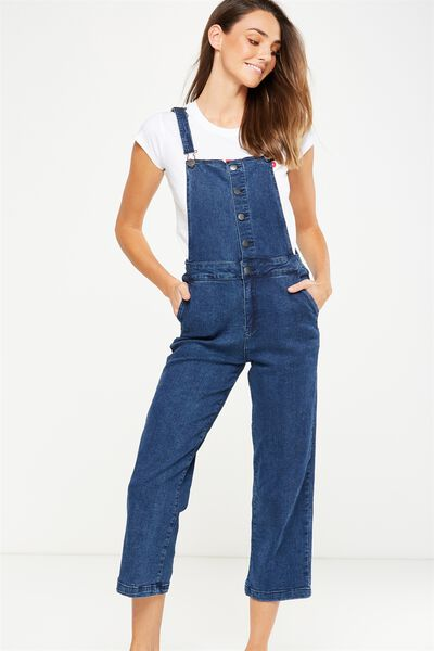 Cropped Overall, EXPOSED BUTTON BLUE