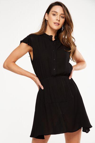 Woven Emily Short Sleeve Dres, BLACK