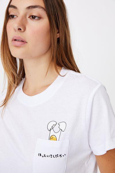 Classic Pop Culture T Shirt, LCN SAN GUDETAMA CRACKED EGG/WHITE