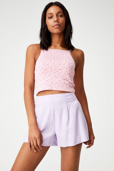 Lucy High Neck Lace Trim Cami, jean ditsy candy pink