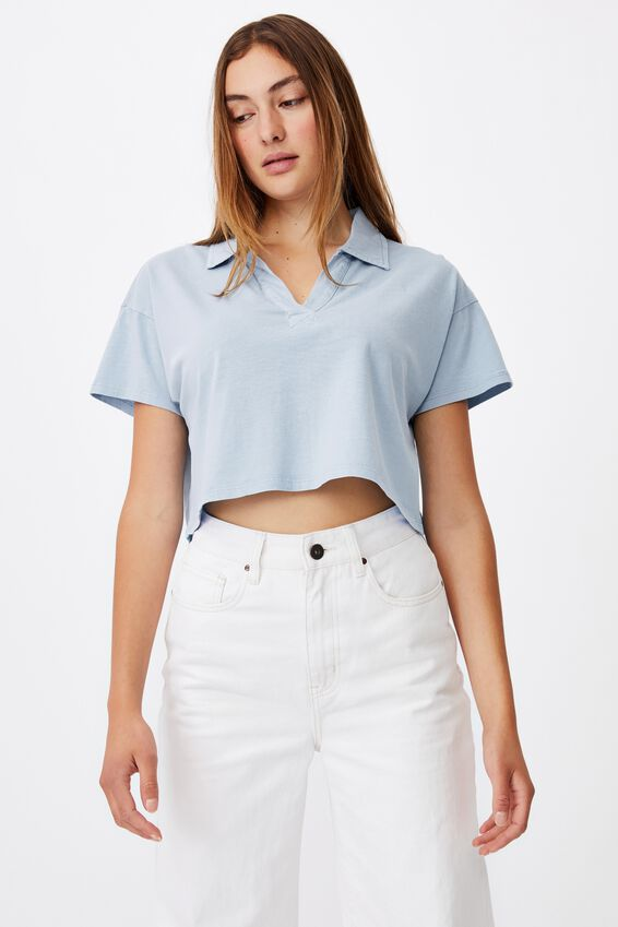 Ryan Short Sleeve Polo, WASHED AUTHENTIC BLUE