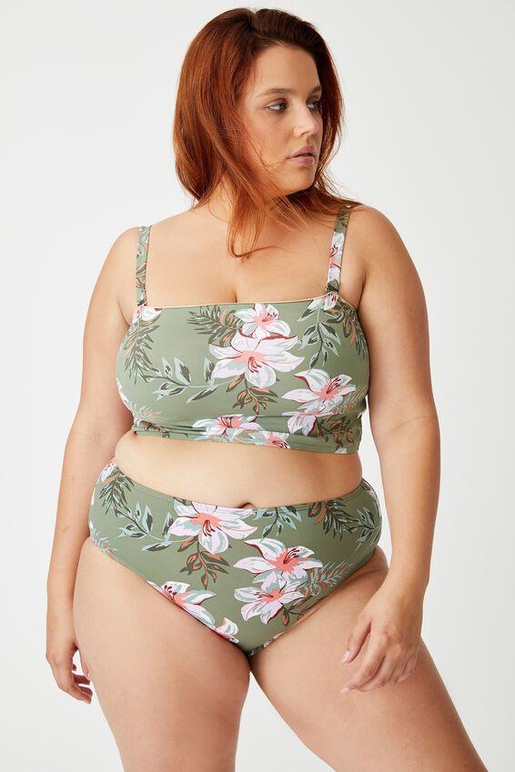 Curve High Waisted Full Bikini Bottom, TROPICAL COOL AVOCADO