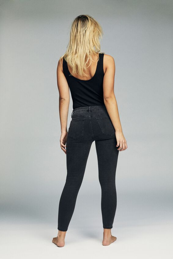 Mid Rise Cropped Skinny Jean, WASHED BLACK KNEE RIP