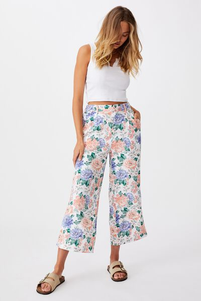 Cindy Wide Leg Pant, KEILY FLORAL WHITE