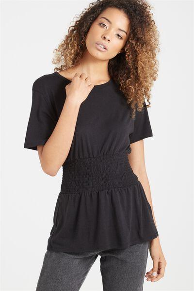 Kristy Shirred Top, BLACK/BLACK