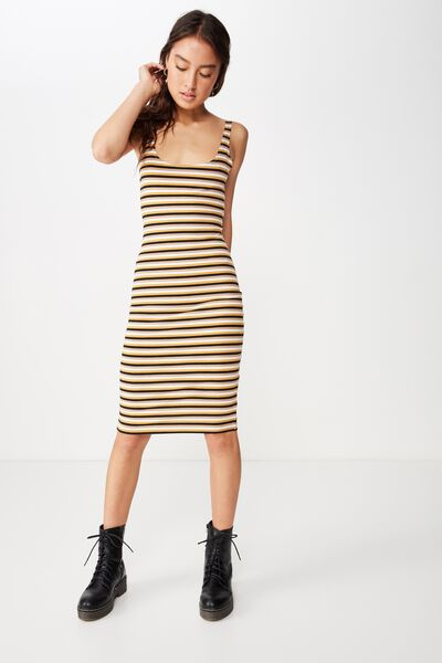 Kimi Scooped Bodycon Midi Dress, TONY STRIPE SUNFLOWER