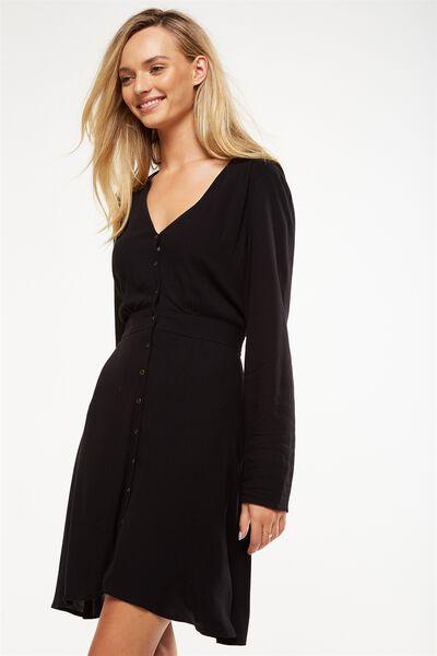 Woven Bella Long Sleeve Tea Dress, BLACK