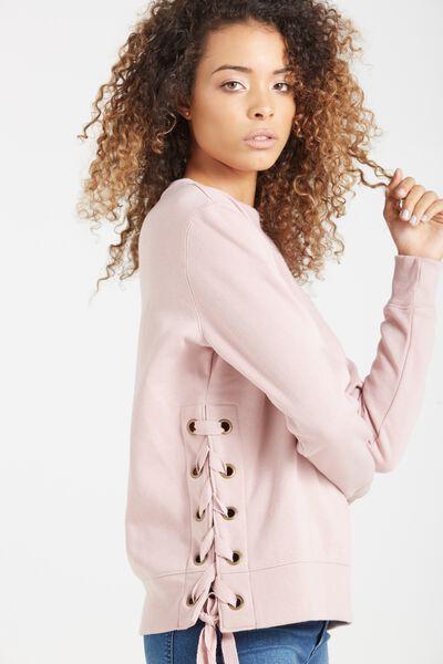 Larissa Lace Up Sweater, SOFT PINK