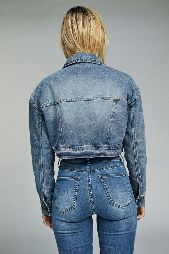 Angie Chopped Denim Jacket, NEW MID BLUE