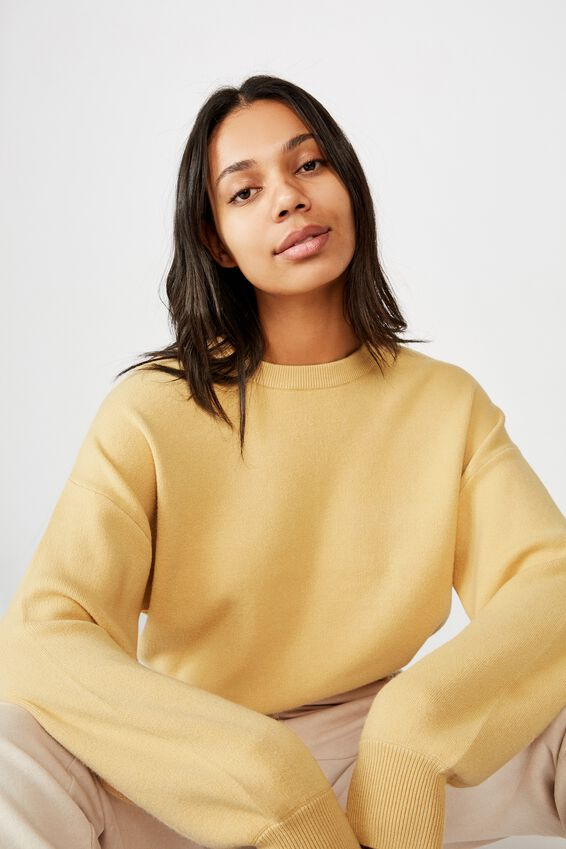 Chloe Crew Luxe Pullover, NEW WHEAT