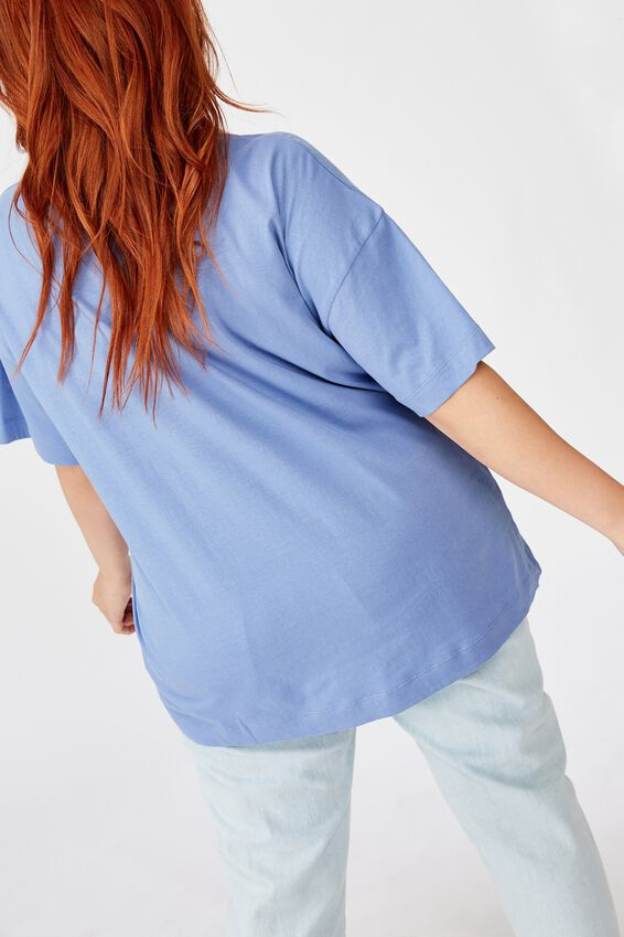 Curve Oversized Graphic Tee, LIVE TO RIDE/WEDGEWOOD